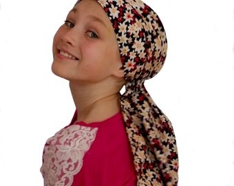 Ava Joy Children's Pre-Tied Head Scarf, Girl's Cancer Headwear, Chemo Head Cover, Alopecia Hat, Head Wrap, Hair Loss - Christmas Flowers