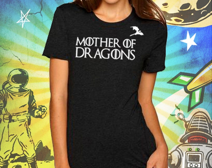 Mother of Dragons Women's Vintage Black T-Shirt Game of Thrones Mother of Dragons Girl Power Khaleesi Tshirt