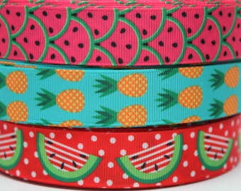 Watermelon Pineapple Ribbon 7/8 Inch Grosgrain Ribbon by the Yard for Hairbows, Scrapbooking, and More!!