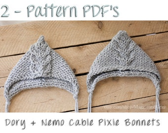 Nemo & Dory Cable Newborn Pixie Bonnet Patterns, PDF Knitting Pattern, knitted baby bonnet patterns, Cable Newborn Pattern, Set of Patterns
