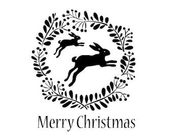 Hare Christmas Stamps Christmas Stamp christmas cards, gift tags, gift wrap, DIY Christmas