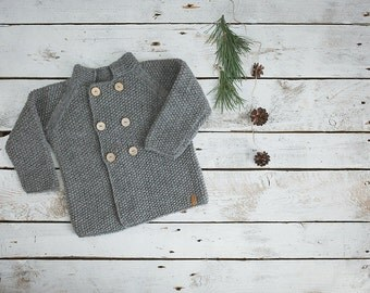Grey baby coat / Hand knitted wool sweater / Baby / Kids / Children Cardigan / Duffle Coat / toddler sweater