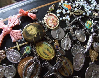 Vintage Lot of Religious Medals 65 Pieces! / Vintage Religious Medals 40's, 50's, 60's, 70's/  65 Piece Vintage Catholic Medal Lot