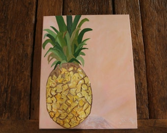 Pineapple Painting, abstract pineapple painting, pineapples, canvas art, pineapple wall art, acrylic on canvas