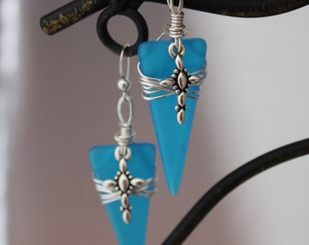 Blue recycled glass with cross earrings