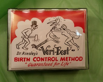 1960s Vintage Dr Kinsleys VERI-BEST Birth Control Method Guaranteed for life gag gift Reto giggles Adult Novelty