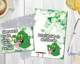 Digital Ghostbusters Slimer Happy Birthday A6, A7 or A2 sized card *printed*