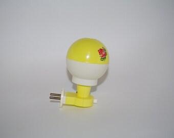 Children's Lamp - Night Lamp - Vintage Soviet Lamp - Polish Plastic Lamp for Children - Red and Yellow Desk Lamp Rose Night Light- Kid Lamp