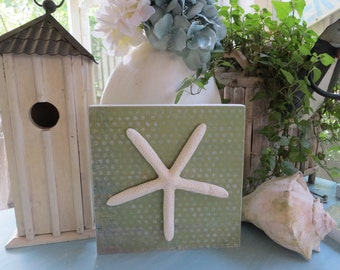 Starfish Plaque, Wood Beach Decor, Beach Decor, Coastal Living, Starfish Decor