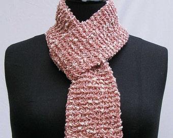 Peach scarf, cream scarf, peach and cream scarf, knubbly scarf, upcycled scarf, reclaimed yarn scarf, knitted scarf, refashioned scarf