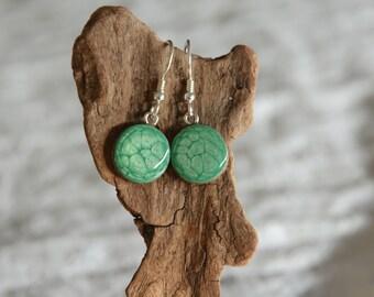 Green organic wood earrings, dangle wooden earrings, forest tree jewelry, woodland jewellery, green earrings, unique gift for her