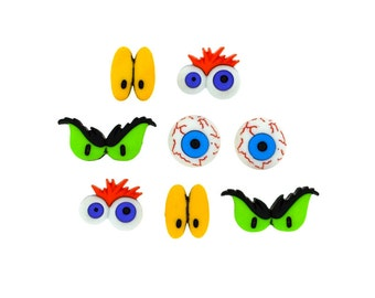 Monster Eyes, Jesse James Halloween Button Bloodshot Blue Eye Green Black Ghouls Scary Yellow Purple Orange Creepy Creature Sewing Costume