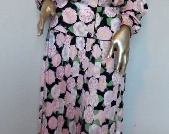 Vintage 1980's Silk Floral Dress* Size 8 . MAGGY LONDON . Pink Watercolor Flowers . Front Buttoned . Pleated Skirt . Wedding . Party . Grad.