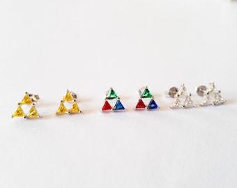 Triforce earrings, sterling silver stud earrings from the legend of zelda games