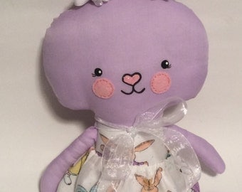 "SALE Handmade Girl Cloth Doll 22.5"" Hannah Bunny Spring Rabbit Easter Holiday Plush Softie Rag Doll Lavender"