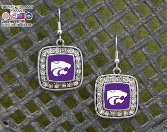 Kansas State Wildcats Square Earrings