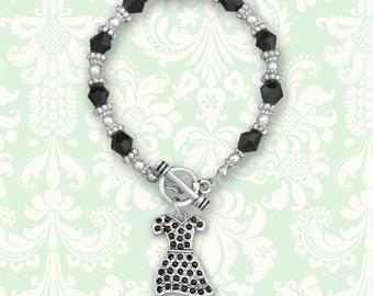 Little Black Dress Beaded Toggle Bracelet - 53121