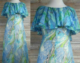 RARE 60s Plus-Sized Lane Bryant Gown Flounce Sleeve Marbled Blue & Green Watercolor Fabric Tall XL