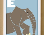 alphabet letter E, elephant, custom colors, children's letter art, letter print, nursery decor, kids initials, 4X6, 5X7, 8X10