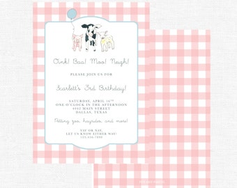 Cow, Sheep, Pig Pink Buffalo Check Barn Farm Birthday Party Girl Invitations-FREE SHIPPING or DIY printable