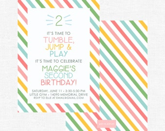 Multi-colored Rainbow Simple Striped Tumble, Jump, and Play Second Little Gym Birthday Party Invitation-FREE SHIPPING or DIY printable