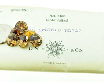 Lot of 6 Pieces Swarovski 1100 Chatons Rhinestones 47ss (10.5mm-10.9mm) Light Smoked Topaz  Pointed Back Foiled Vintage