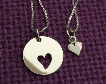 Mother Daughter Necklace Set - Mommy and Me Heart Necklace Set - Sterling Silver Necklace - Mother Jewelry - Mom Daughter Jewelry