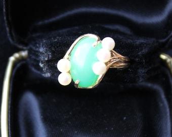 Vintage SULTAN  NA HOKU 14k Gold Jade Cabochon Akoya Pearl Ring