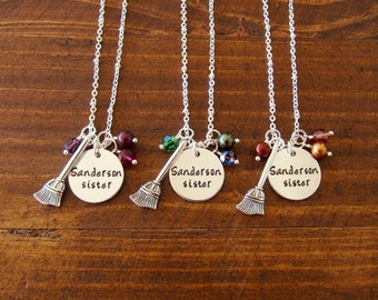 Hocus Pocus Inspired Halloween Necklaces. Sanderson Sister. Witch necklace. Buy 1 or all 3. Swarovski Elements Crystal. Witch Broom.
