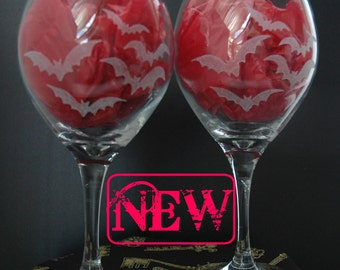 Bats in the Belfrey Globe Wine Glasses set of 2, Gothic Wedding, Dark Decor, Wedding Gift