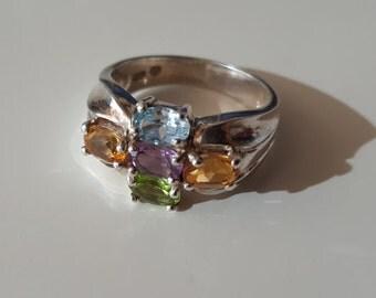 Vintage Sterling Silver Multicolor Gemstone Ring, size 9