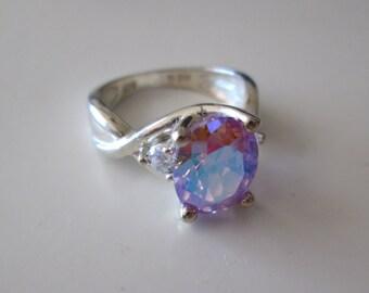 Vintage sterling silver Multicolor pink CZ ring, size 7