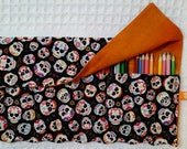 The Rollup for Coloring, Coloring Book, Colored Pencil Rollup, Pencil Roll Up, FREE SHIP Pencil Roll Skulls, Black, Orange Pencil Roll