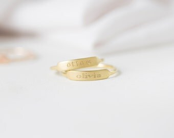 Dainty Bar Ring- Custom Name Rings- Stackable Rings- Personalized Name Ring- Stackable thin band- Friendship Gift- Christmast Gift