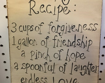 Family recipe wooden sign