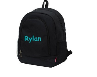 Personalized School Backpack Bookbag - Solid Black  - Embroidered Name or Initials