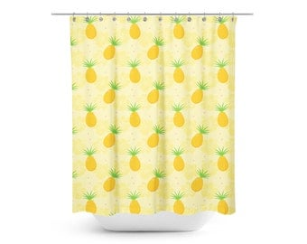 Pineapple Hibiscus Shower Curtain   Kids Shower Curtain   Hawaiian Kids  Shower Curtain   Pineapple Shower  Kids Shower Curtain
