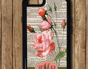 Pink Roses iPhone Case, Floral iPhone Monogram iPhone Case, Antique iPhone 7