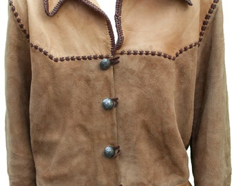 1960s Large Mens Jacket XL Cowboy Western Native American Indian Leather Buckskin Char Davy Crockett Alamo Boho Hippie North Beach Leather