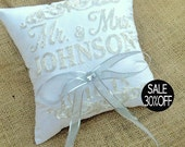 Ring Bearer Pillow 30%OFF Mr & Mrs.Wedding Ring Beaded sequin Pillow Embroidered Monogram Custom Personalize Ring Bearer Pillow All Colors