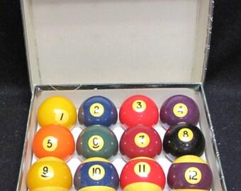 "Vintage Aramith 2 1/4"" Full Set Billiard Balls Made In Belgium With Original Box"