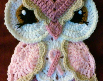 Crochet Breast Cancer Awareness Owl Potholder Pattern Only