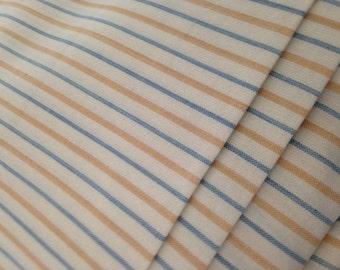 Organic Cotton Fabric, Self Striping, Yarn Dyed Stripes,Yellow and Blue Stripes, Wide Width, Yarn Dyed Fabric,Hand Dyed Yarns, Sewing fabric