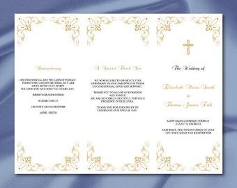 free tri fold wedding program templates