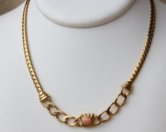 coral pink and vermeil necklace