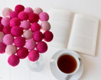 Wool Felt Ball Flowers. Pom Pom Flowers. Wool Craspedia. Billy Buttons Balls. Home Decor. Pink. Hot Pink. Valentines. Wedding bouquet Posies
