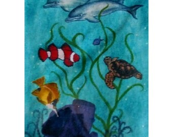 Set Of Greeting Cards Envelopes Included,  Dolphins And Sealife Motif