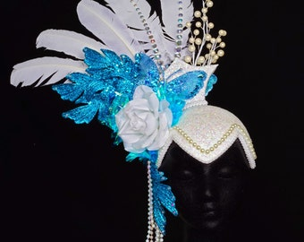 white turquoise spring headdress headpiece