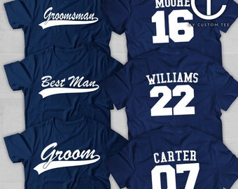 8 Groomsmen Shirts - Bachelor Party with Number - Baseball Sports Theme - Groomsman - Set of 8 T-Shirts Tee Custom Customizable