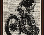 Steve McQueen motorbike jump in The Great Escape mounted print on antique page from dictionary